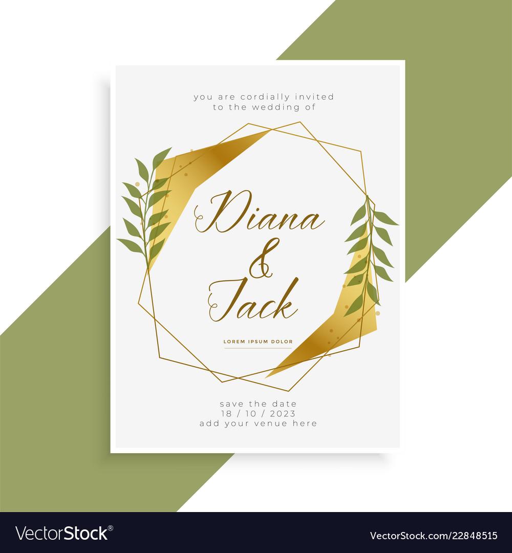Beautiful golden wedding invitation card design Vector Image