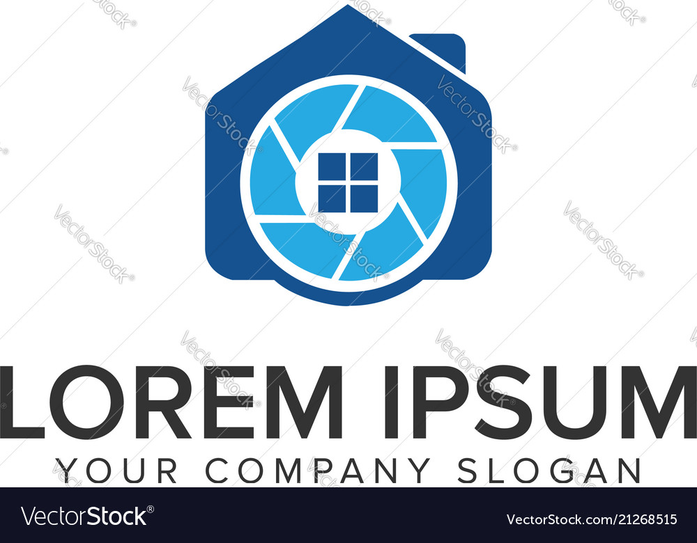 Camera house logo design concept template