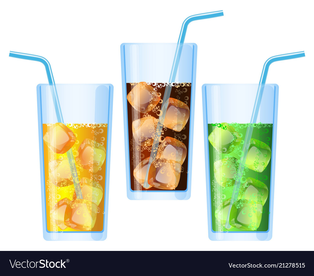 Fizzy drinks poured in glasses refreshing set