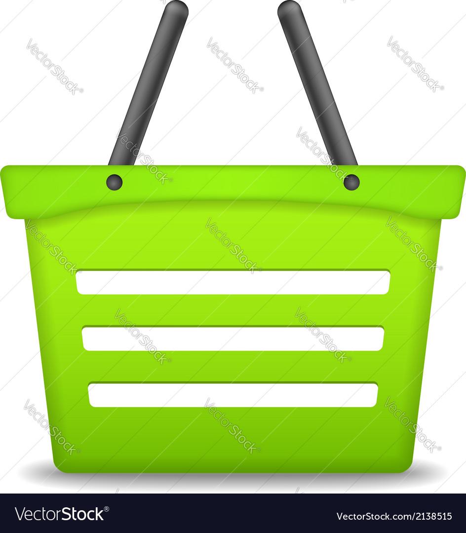 Green Shopping Basket vector image