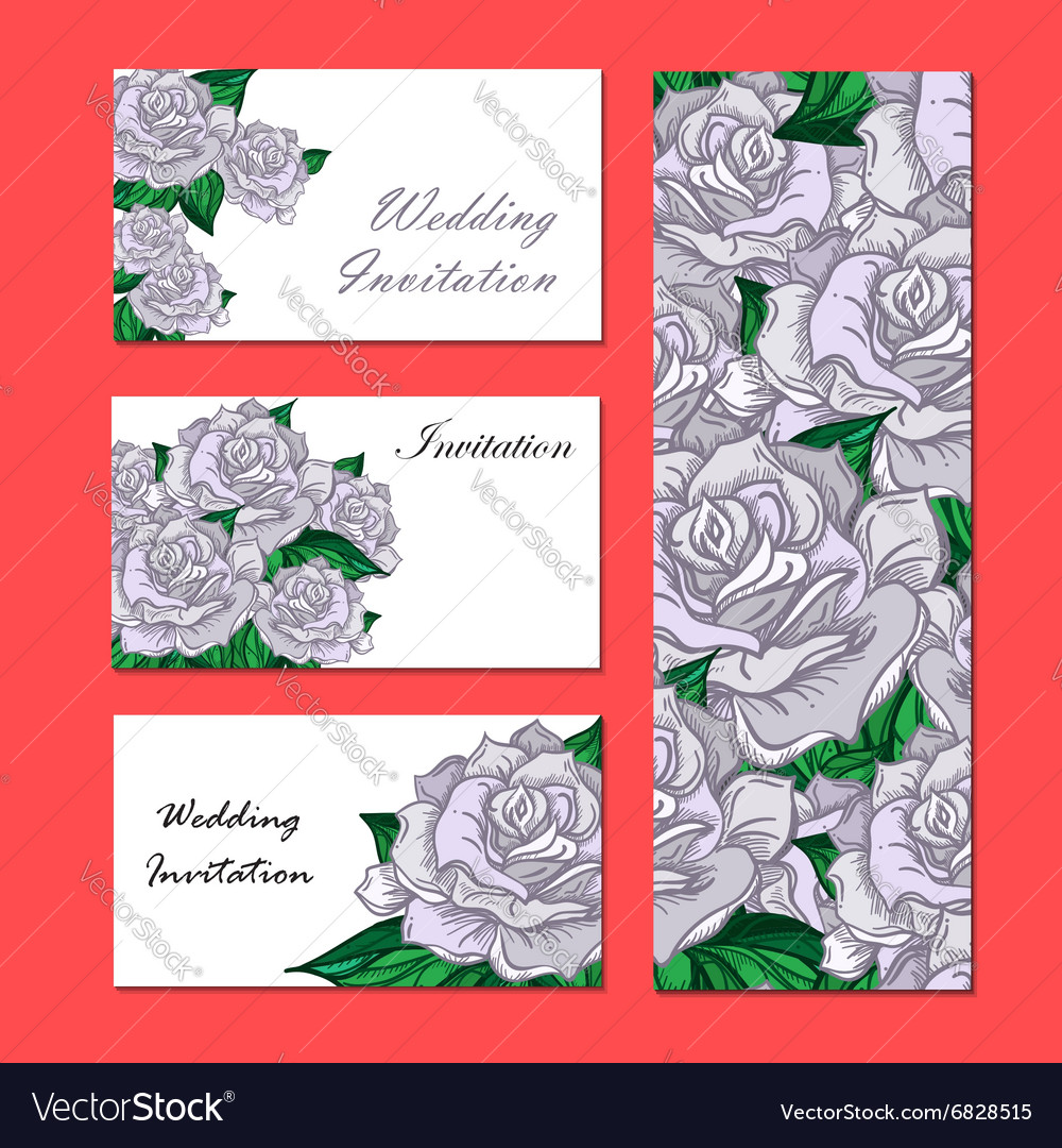 Hand Drawn Wedding Rose Invitation Royalty Free Vector Image