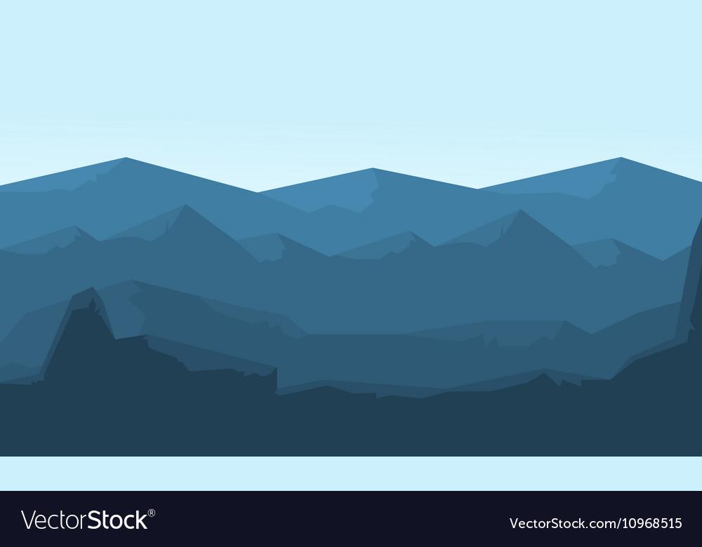 Hills landscape flat of silhouette