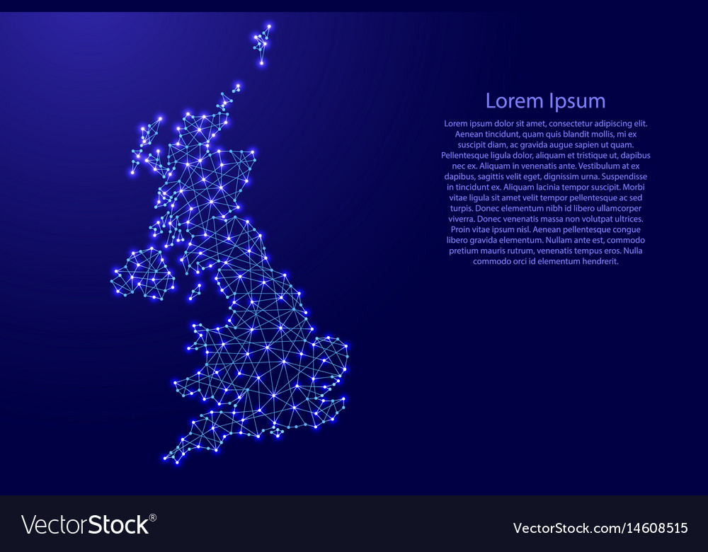 Map of united kingdom from polygonal blue lines