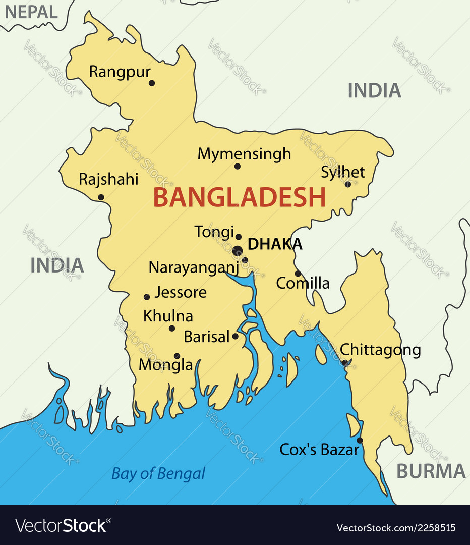 Peoples Republic of Bangladesh - map Royalty Free Vector