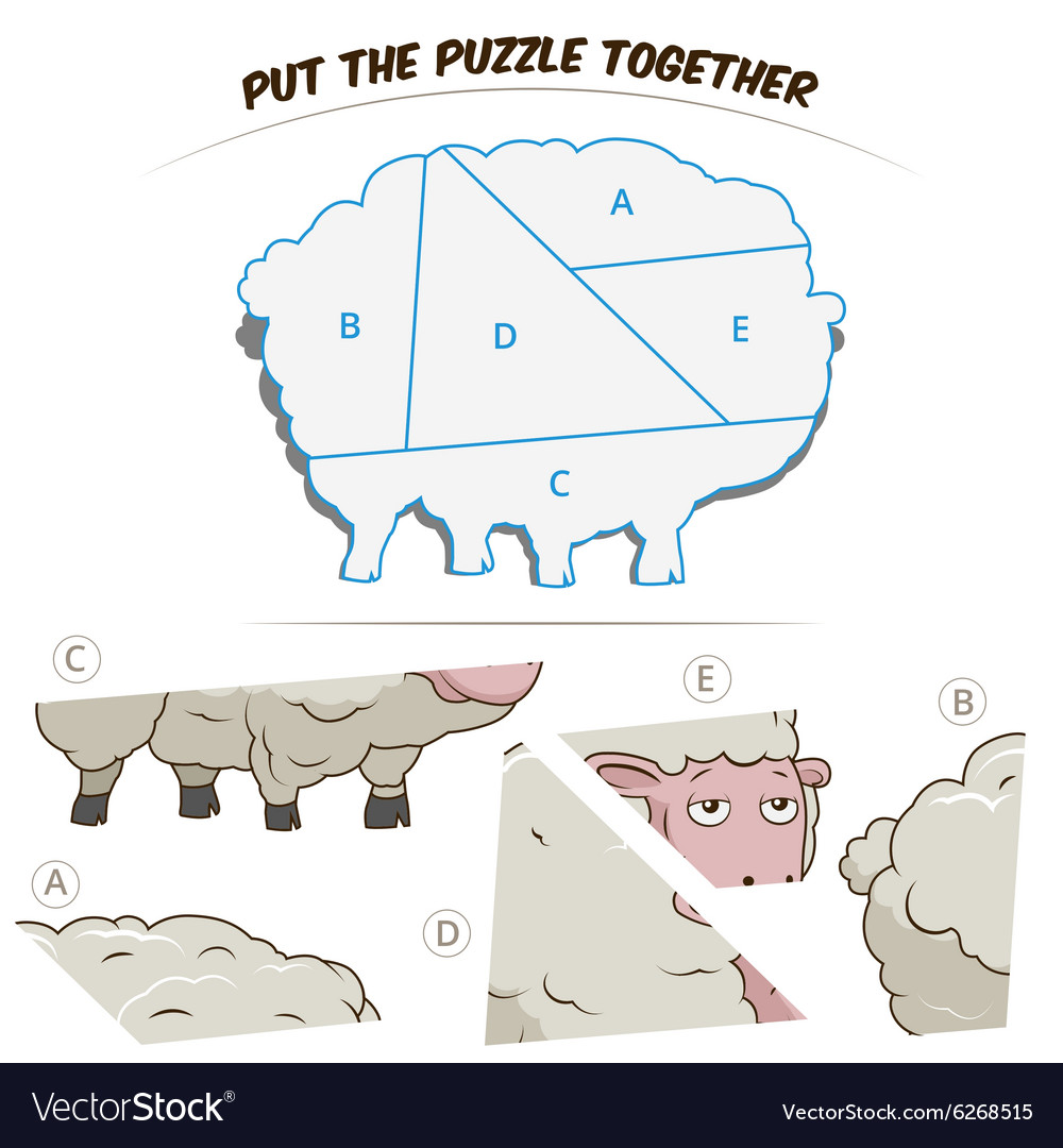 Puzzle game for chldren sheep vector image