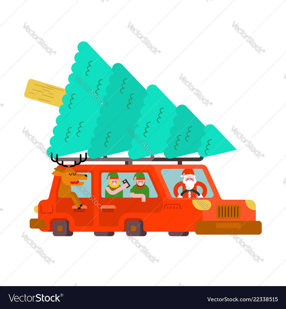 Santa claus and deer and elf in car carry