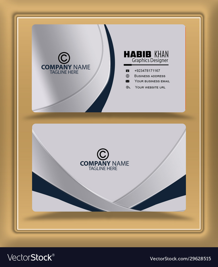 Silver embossed effect visiting card business card