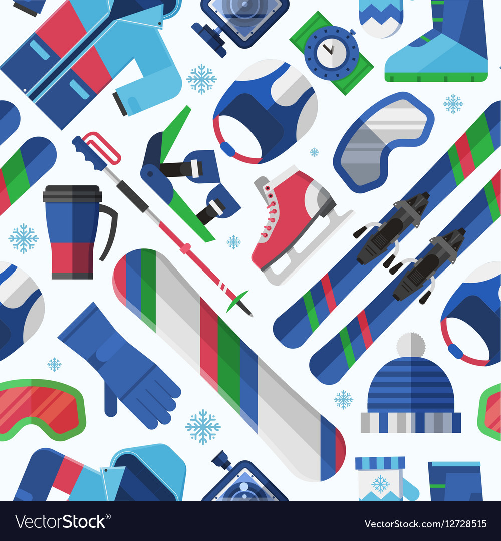 Winter Sports Seamless Pattern vector image