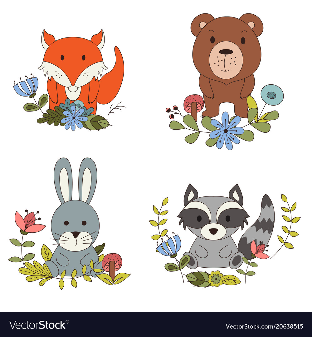 Woodland animals with cartoon hand drawn forest