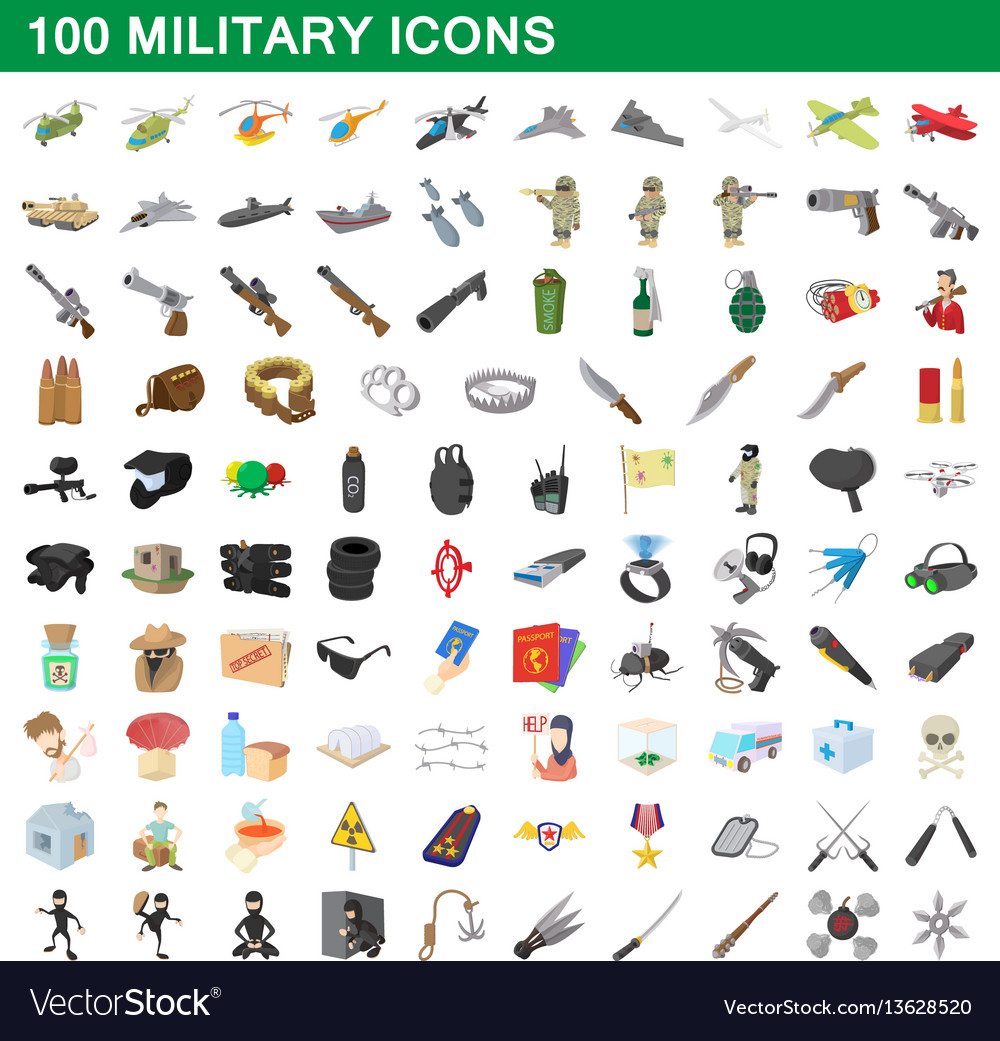 100 military icons set cartoon style