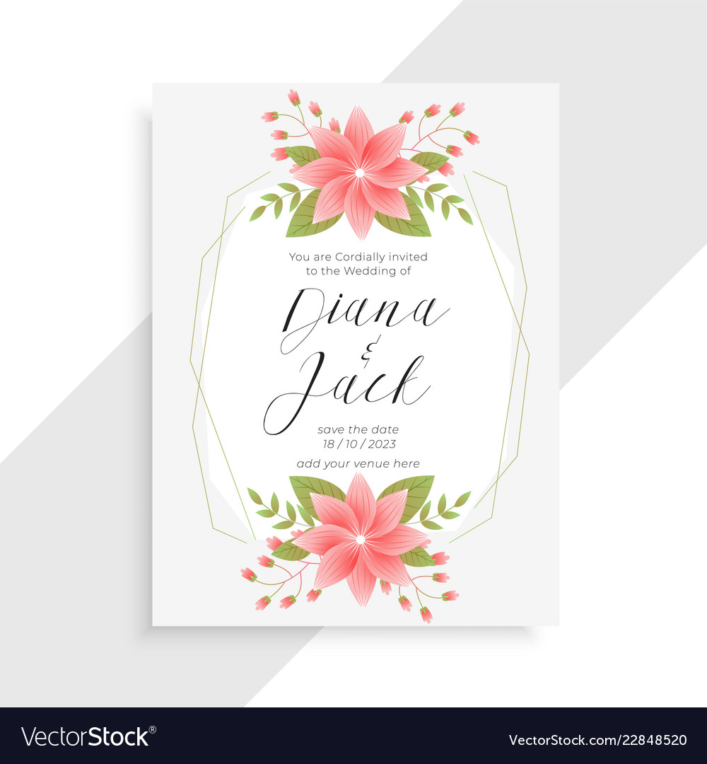 Awesome vintage flower and floral wedding card