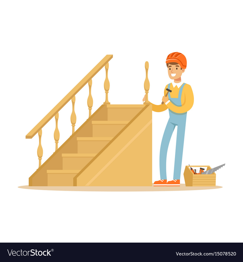 Carpenter building a wooden staircase woodworker