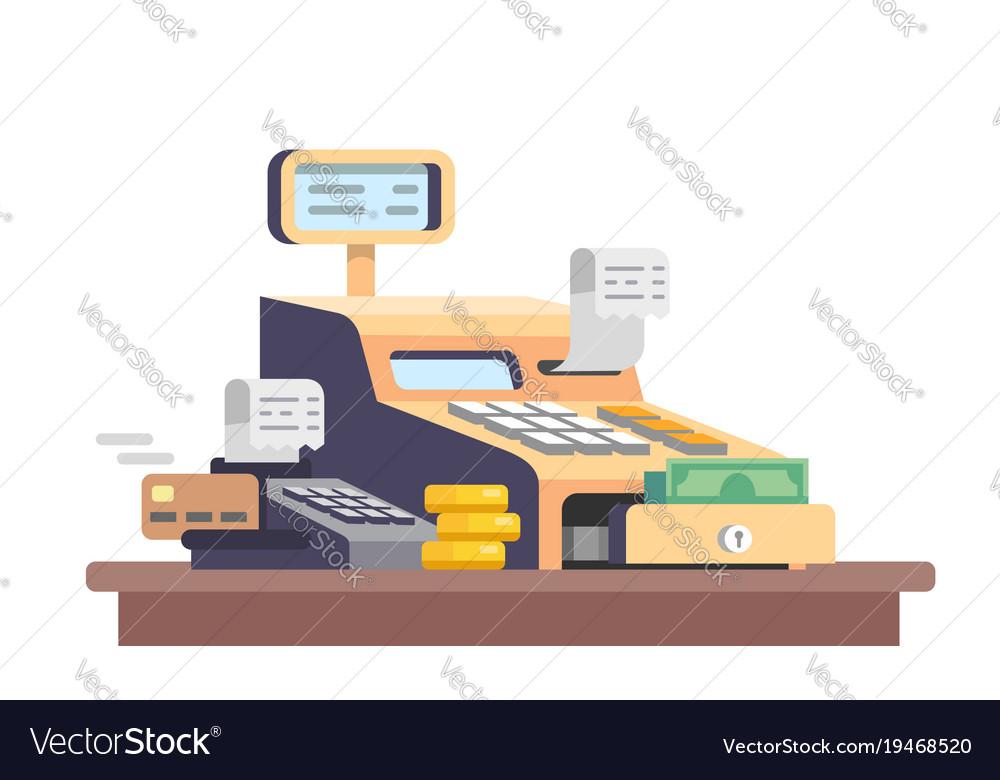 Cash register machine with money