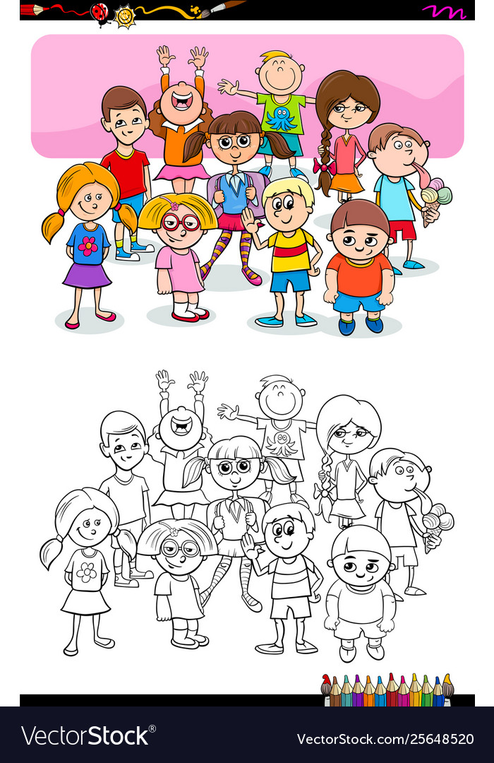 Children and teens characters group color book