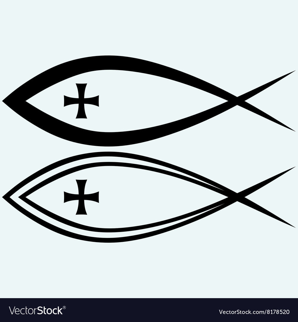 Christian Fish Symbol With Cross Royalty Free Vector Image