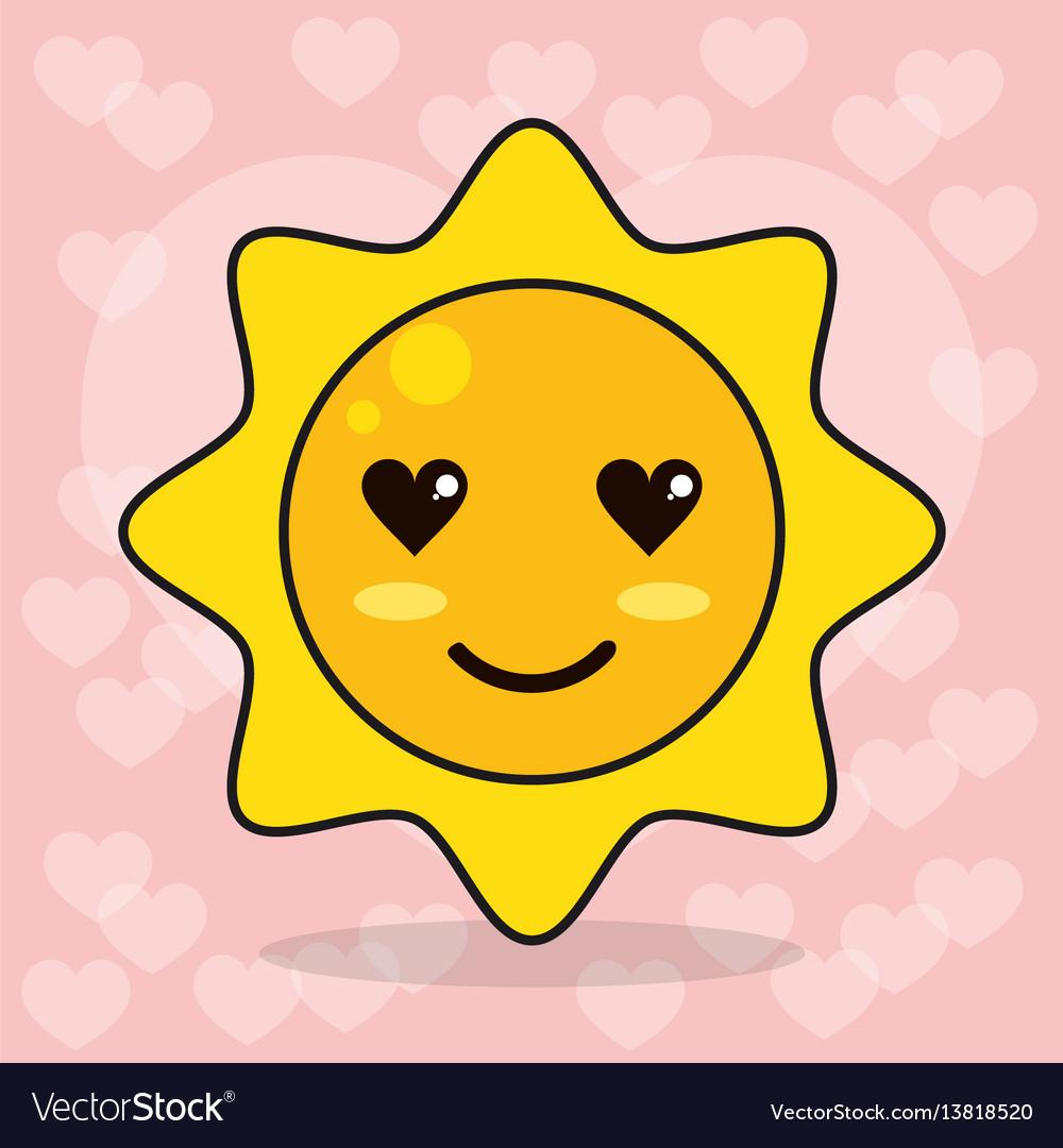 Emoticon sun love eyes vector image