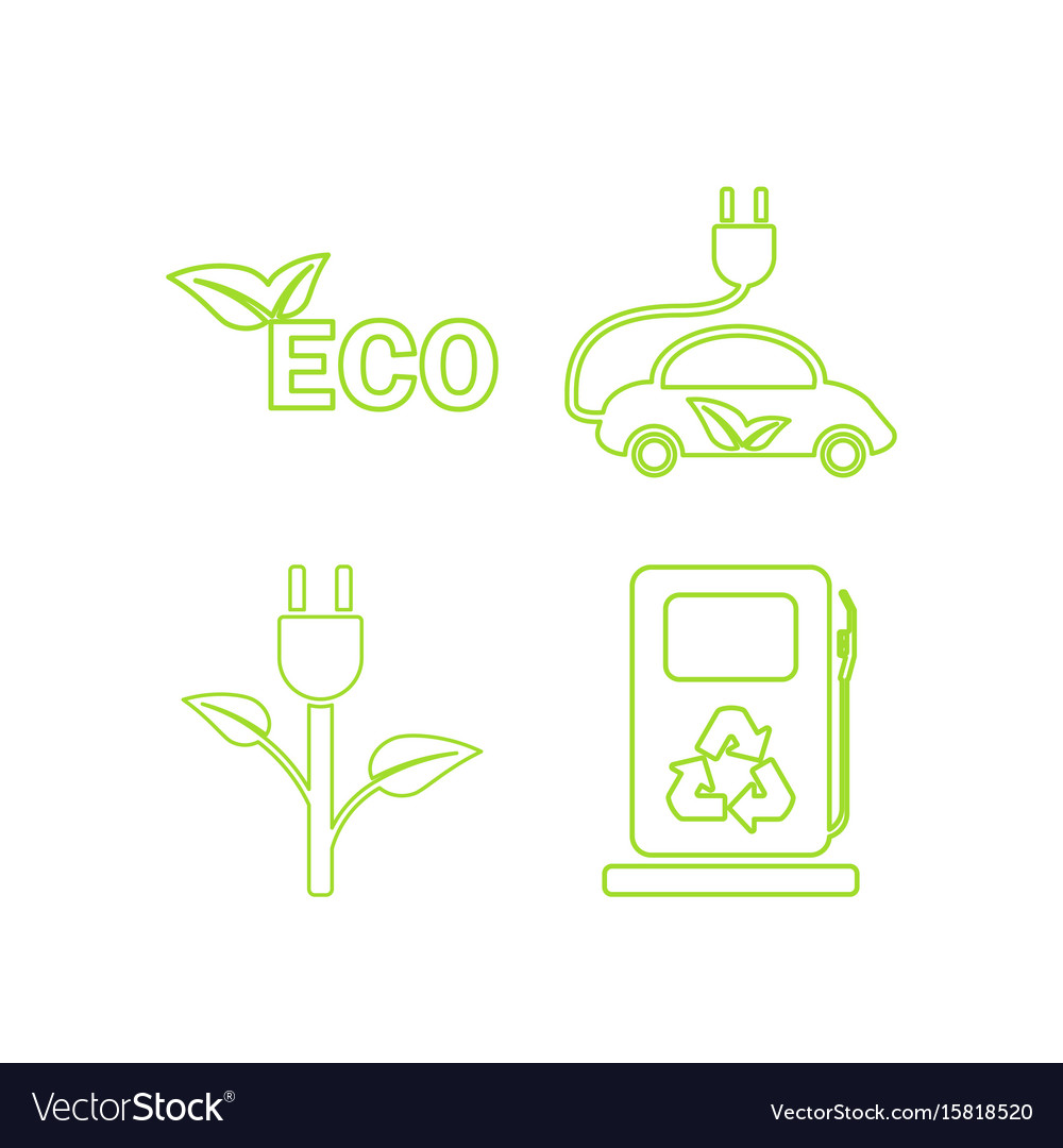 Green ecology linear icons set