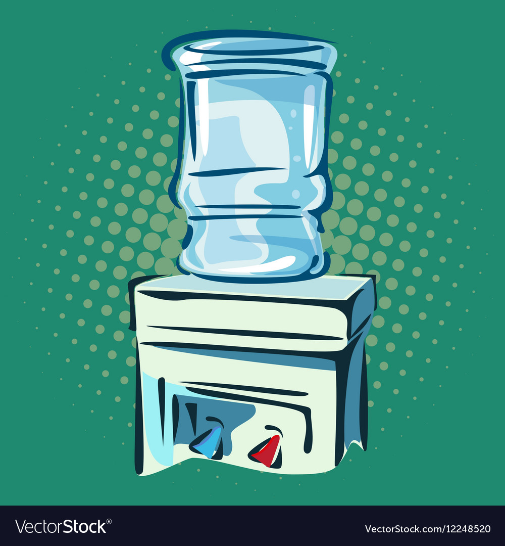 Hand drawn pop art of water cooler