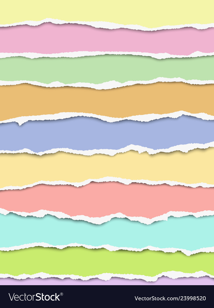 Layered oblong torn different pastel color paper