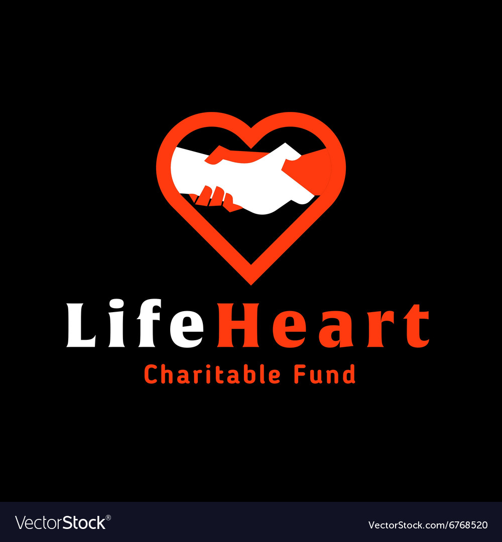 Logo helping hand life in the heart of charitable vector image