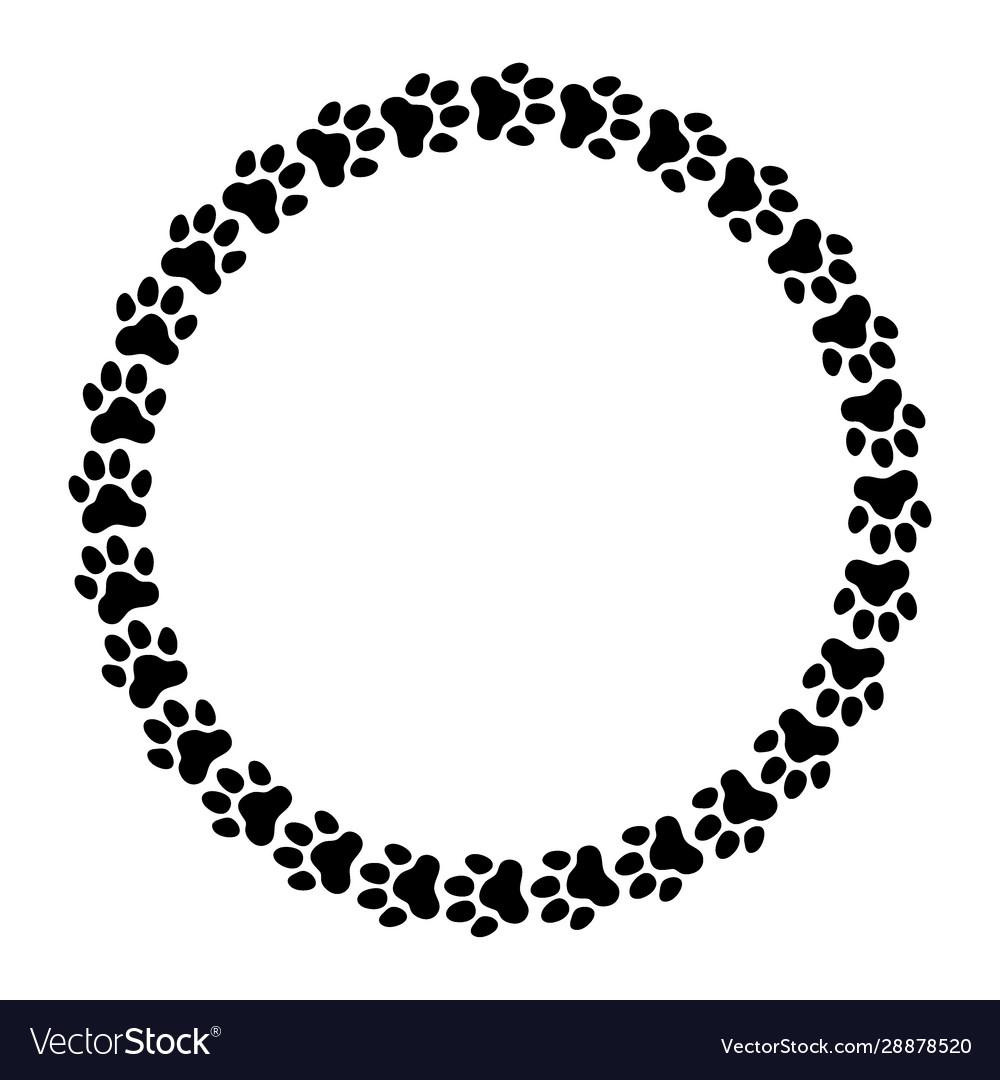 Round frame made paw prints