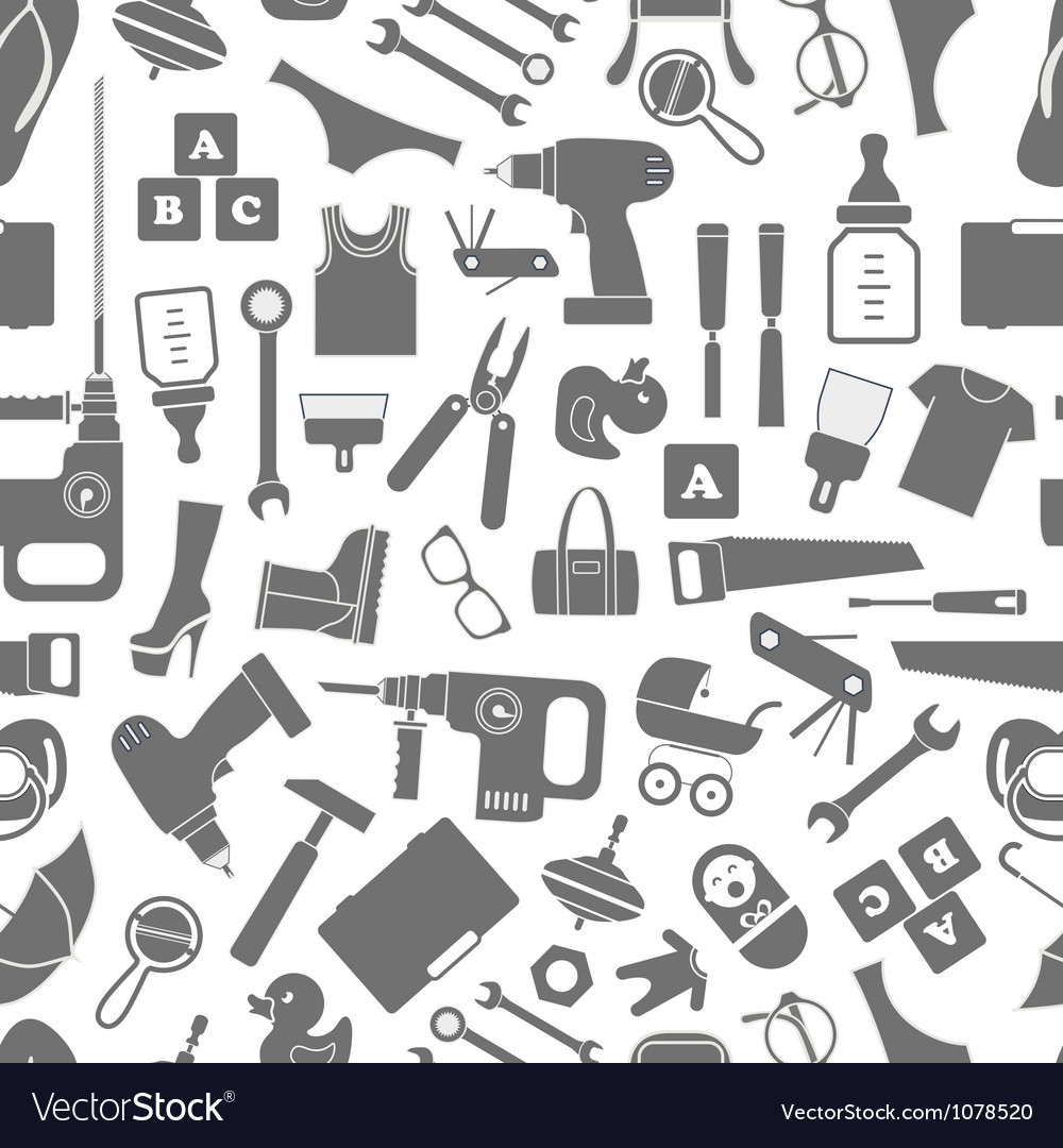Seamless background of different silhouettes vector image