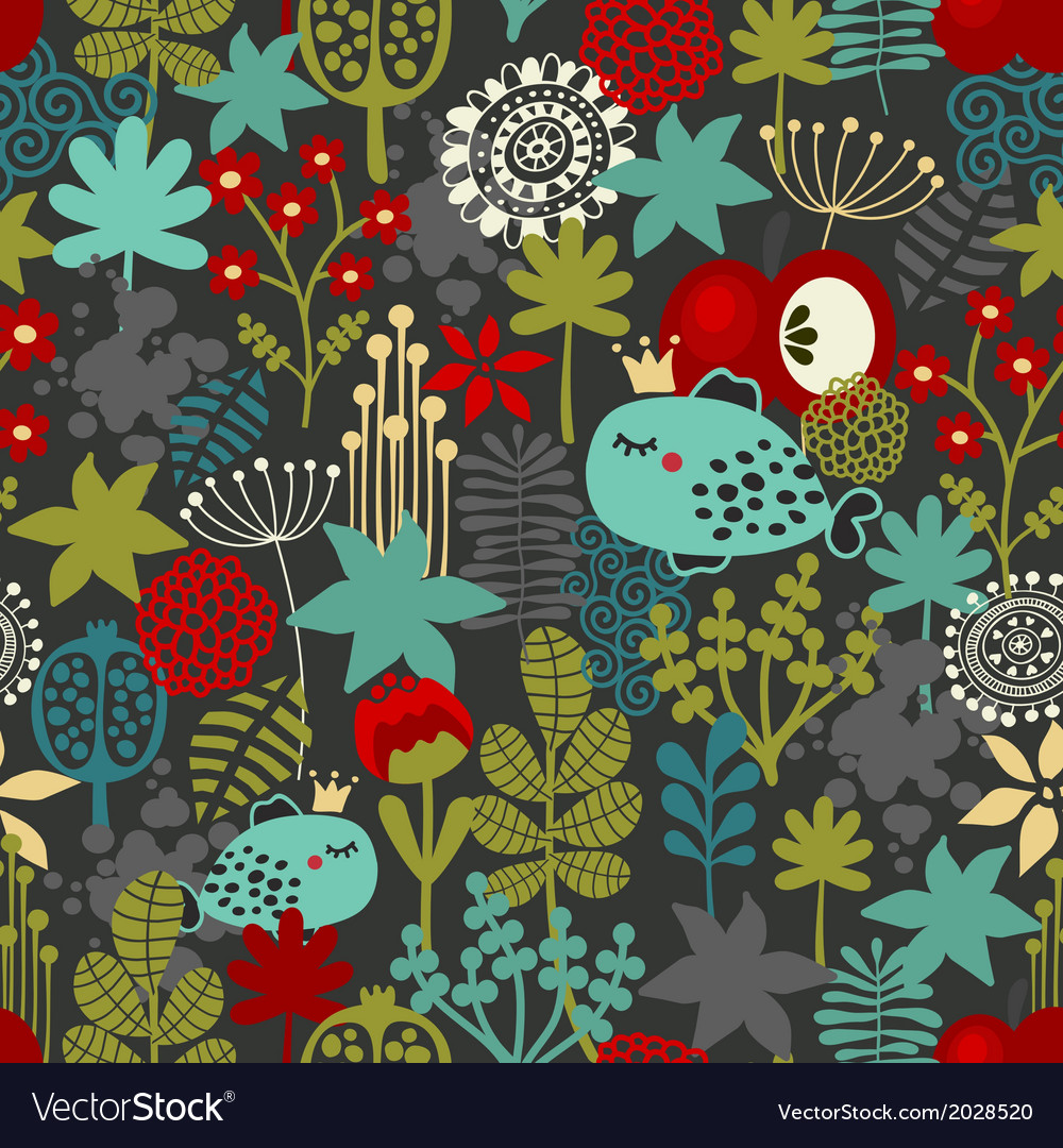 Seamless pattern with fantastic flora and fish