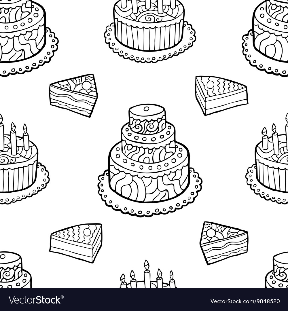 Seamless pattern with hand drawn cakes on white