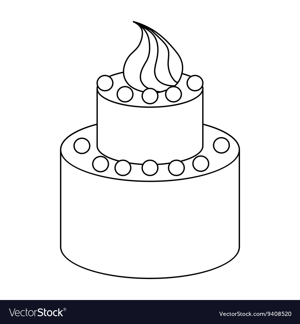 Two Tier Birthday Cake Icon Outline Style Vector Image