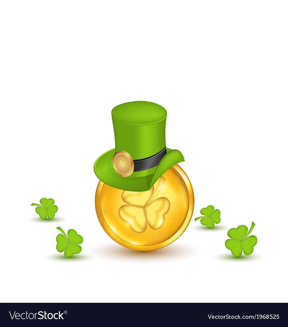 Background with hat clovers and coins in saint