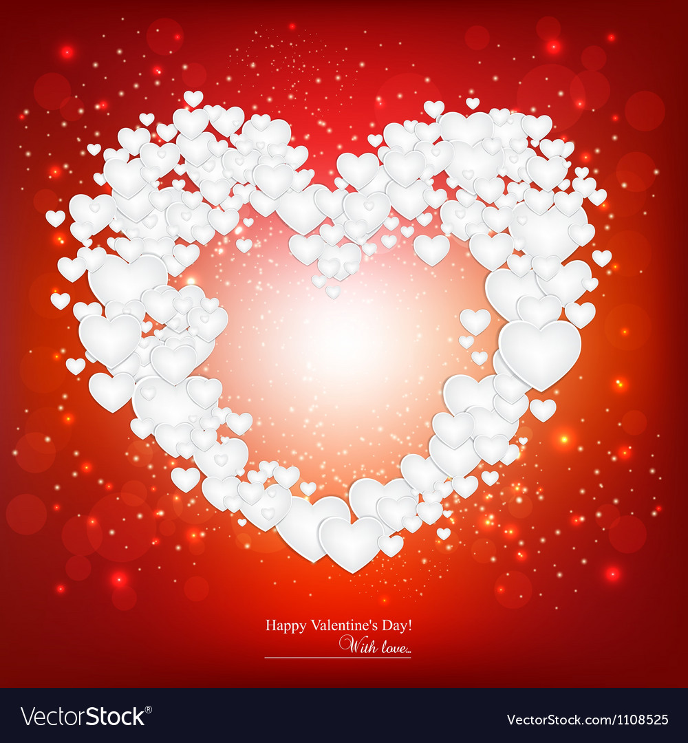 Beautiful background with red heart made from