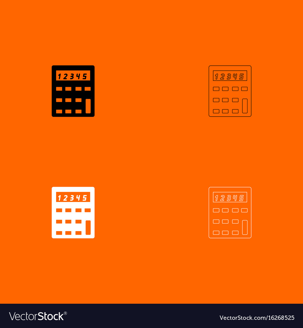 Calculator black and white set icon vector image