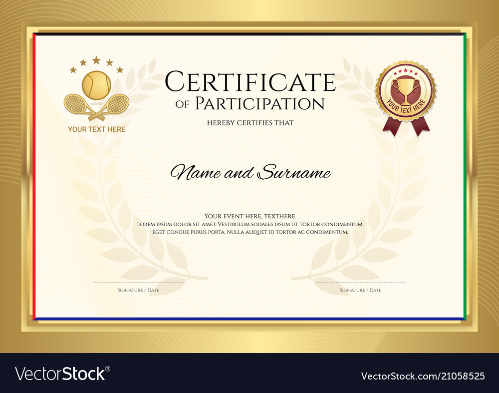 Certificate template in tennis sport theme with