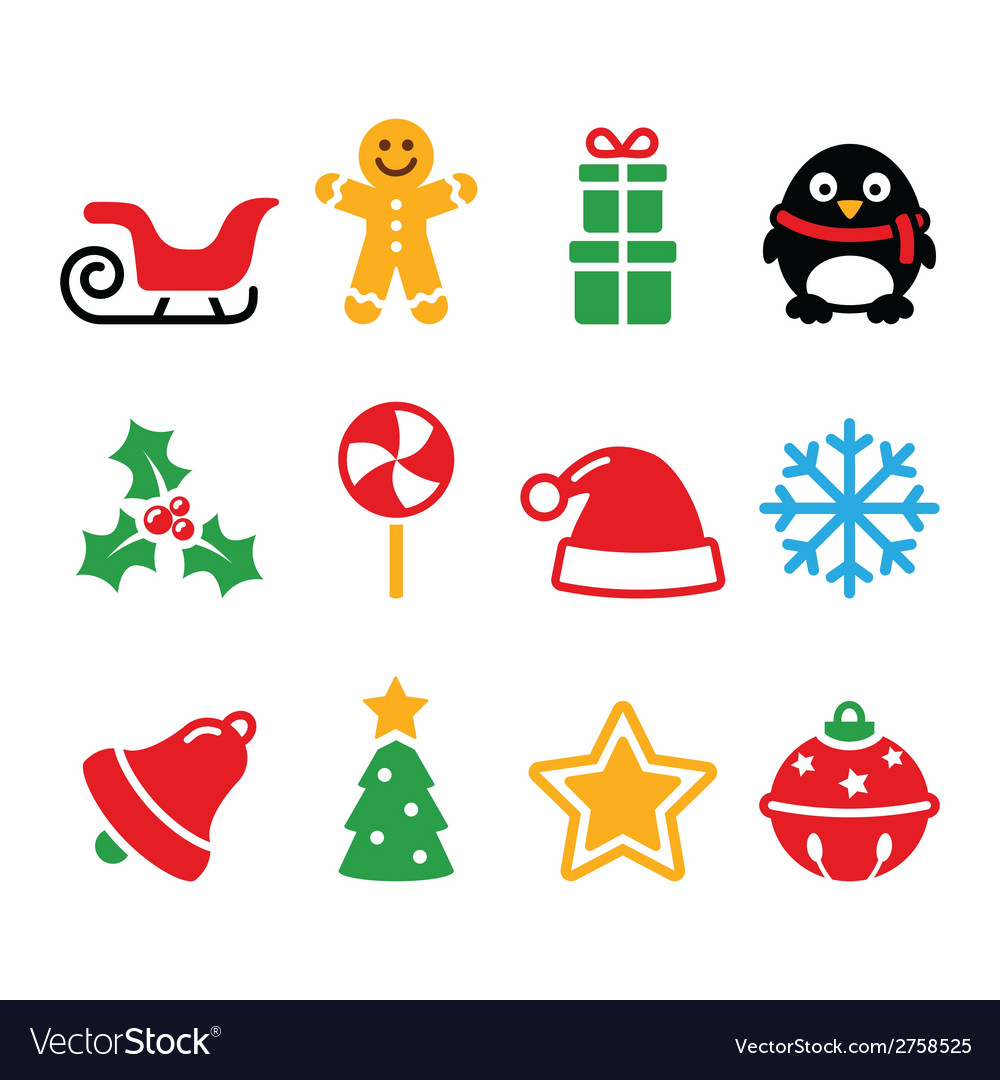 Christmas Tree Facebook Icon: Santa Xmas Tree Present Vector Image