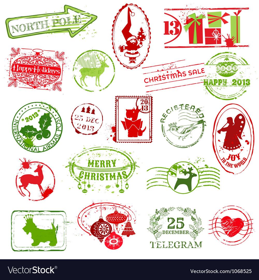christmas stamp collection vector image - Christmas Stamp