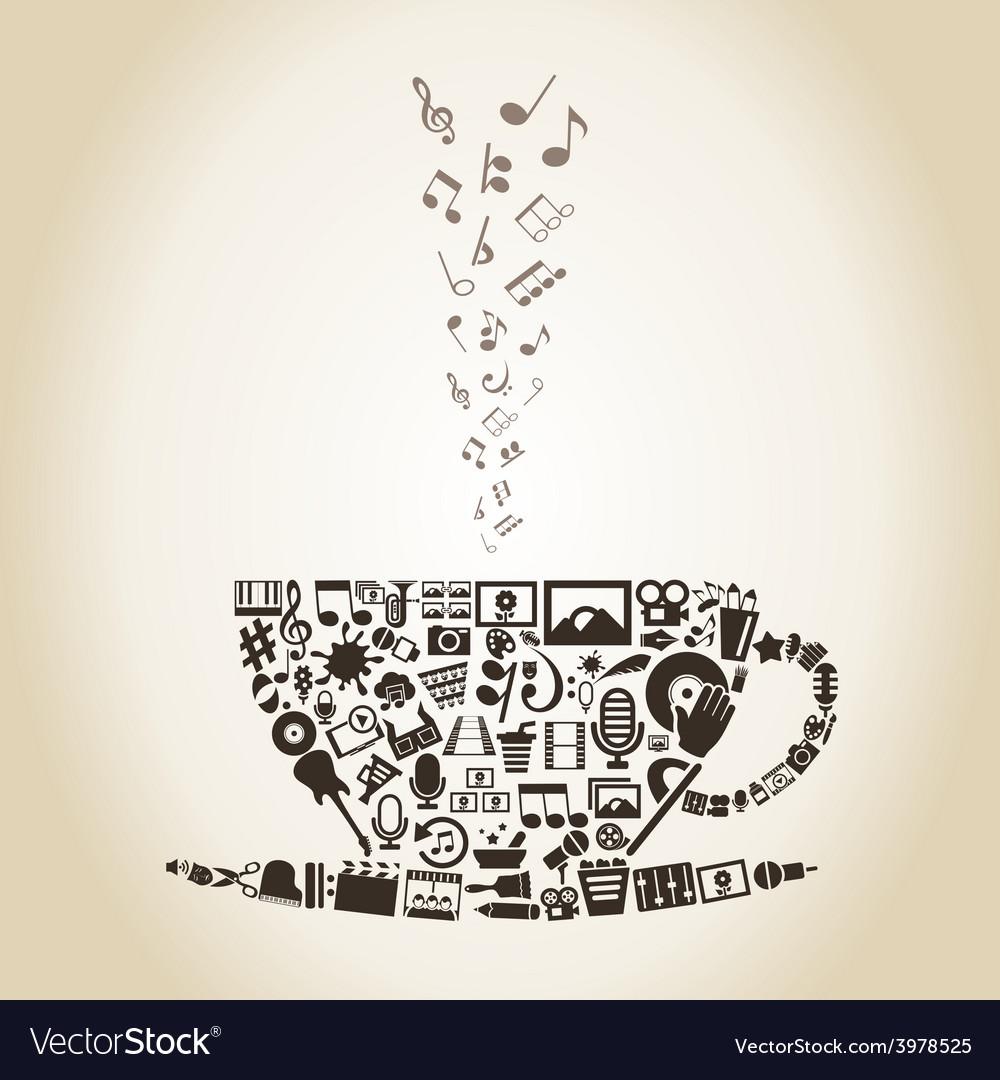 Cup art vector image
