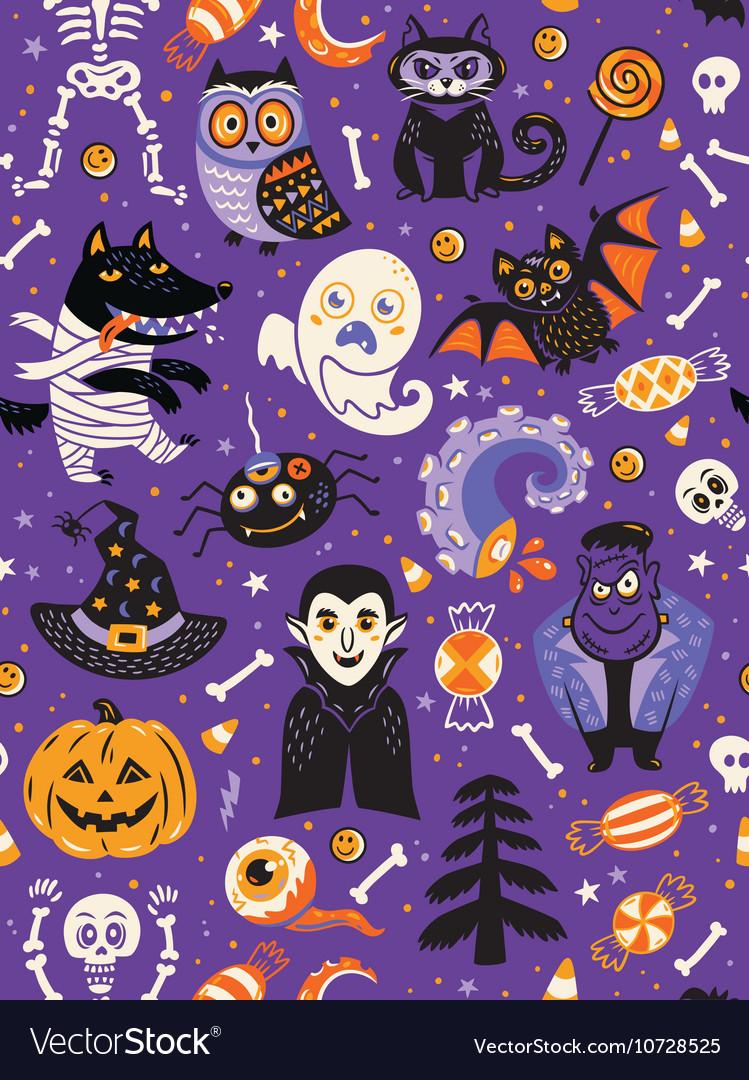 Cute Halloween seamless pattern with cartoon