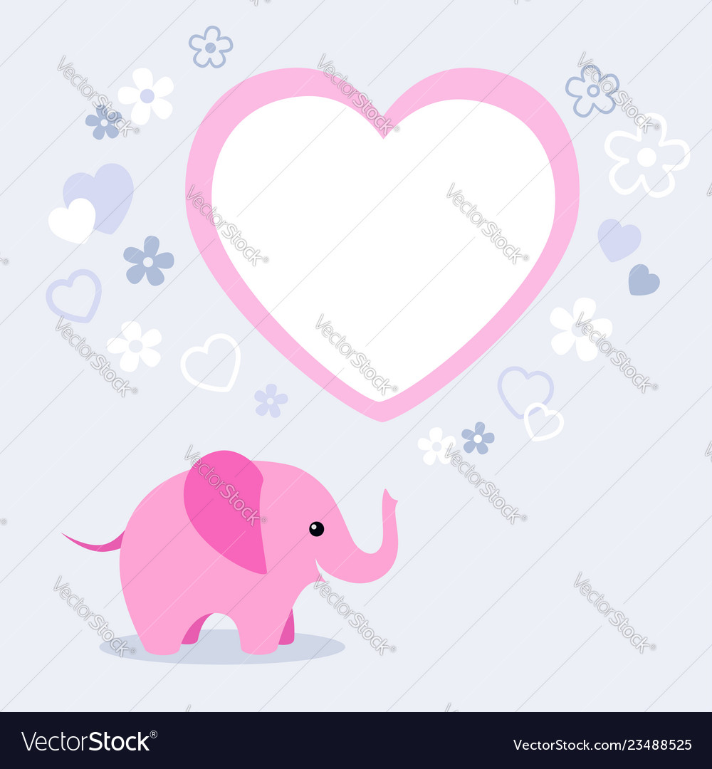 Cute pink elephant with heart and empty text box