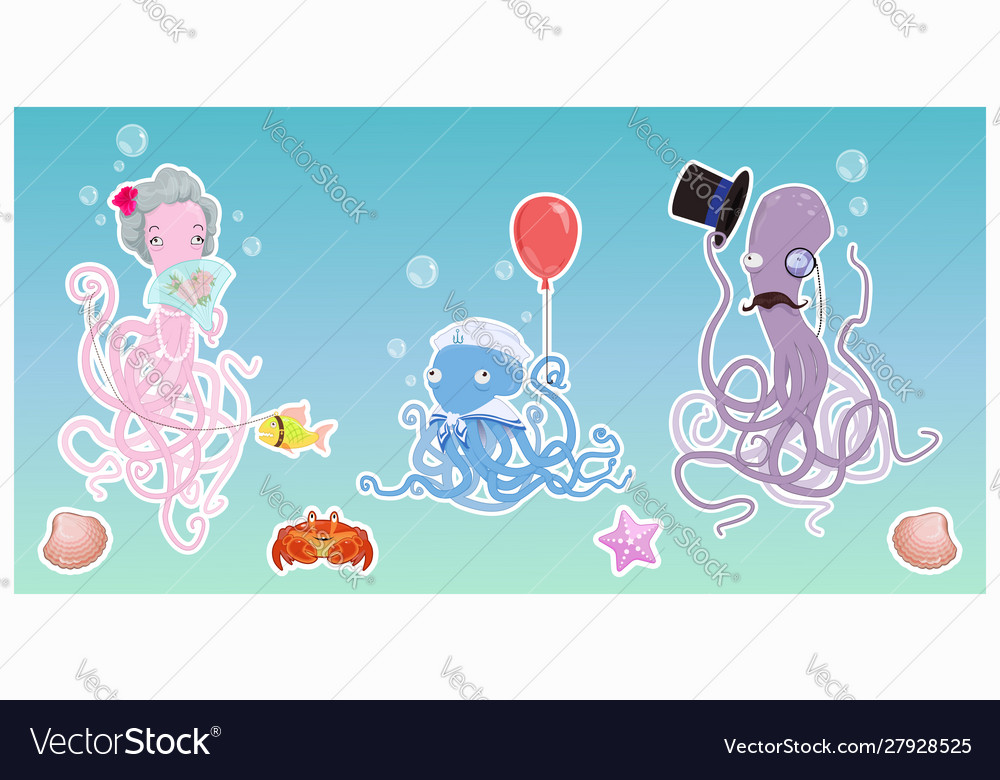 Funny octopus family in ocean cartoon