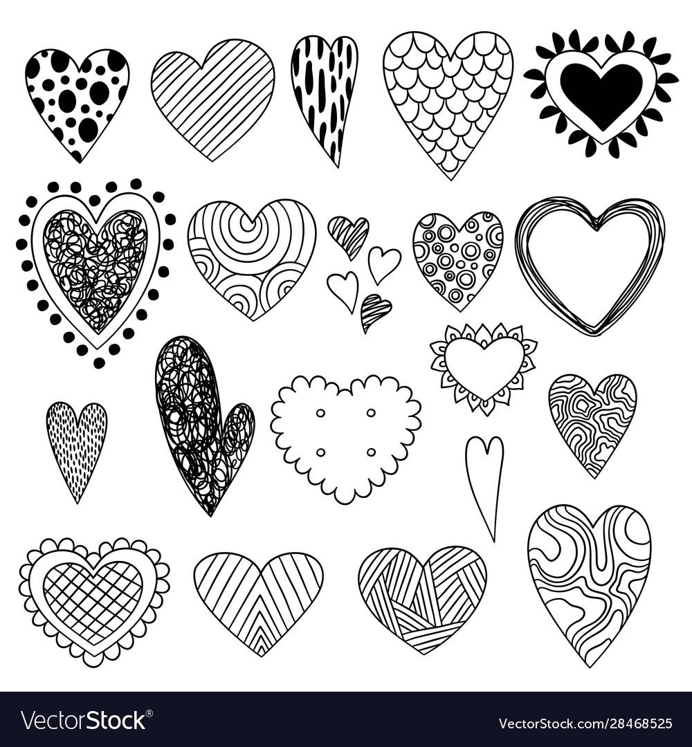 Heart doodles valentine day symbols sketch love