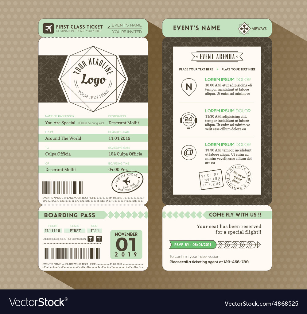 Hipster design Boarding Pass Event ticket vector image