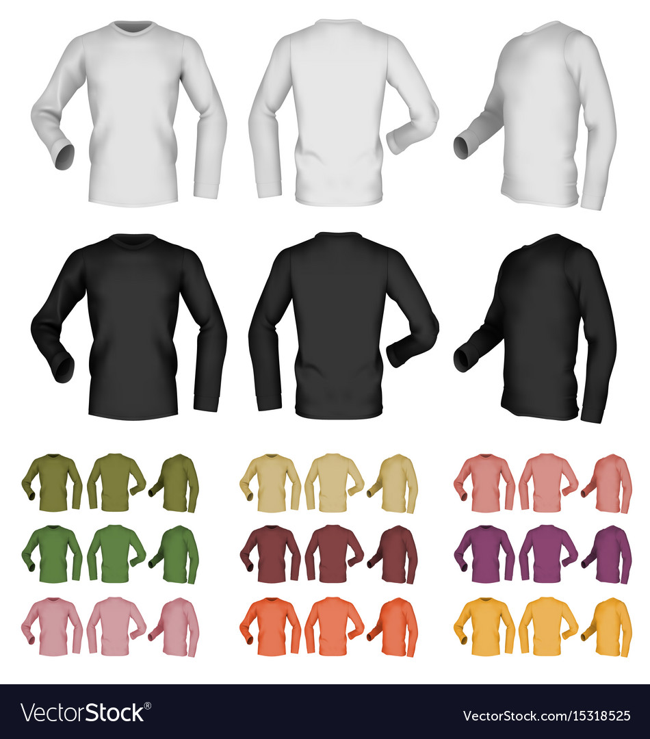 Long sleeve blank male t-shirt template front