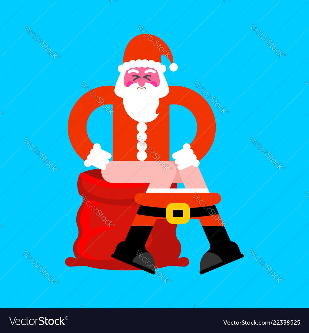 Santa on toilet red bag bad christmas grandfather