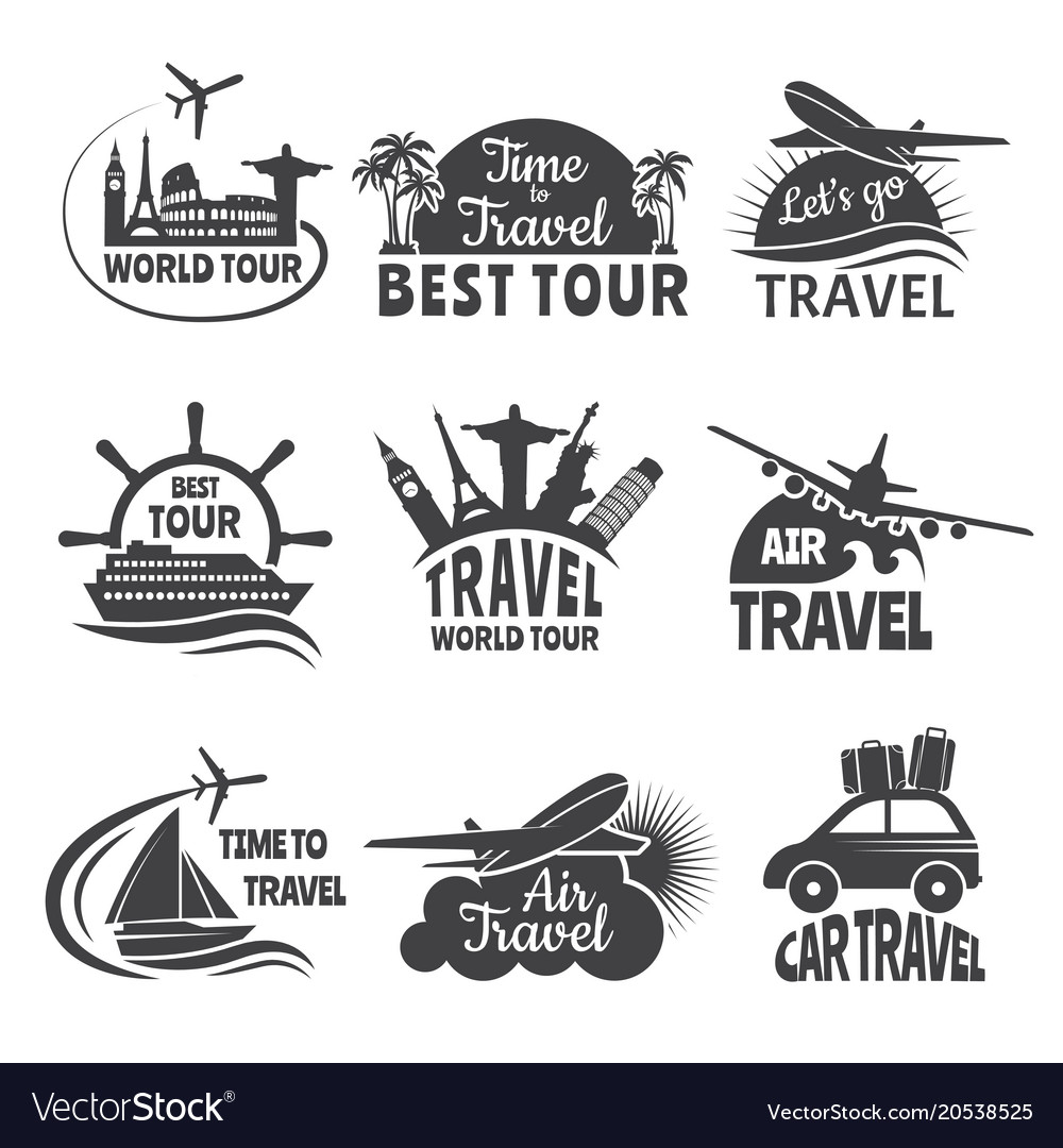 Travel labels set with of airplane vector image