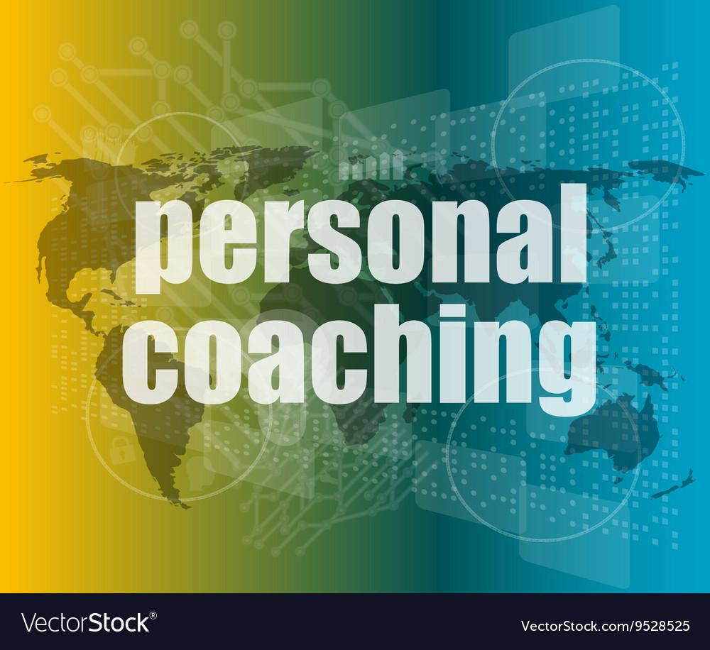 Word personal coaching on digital screen 3d