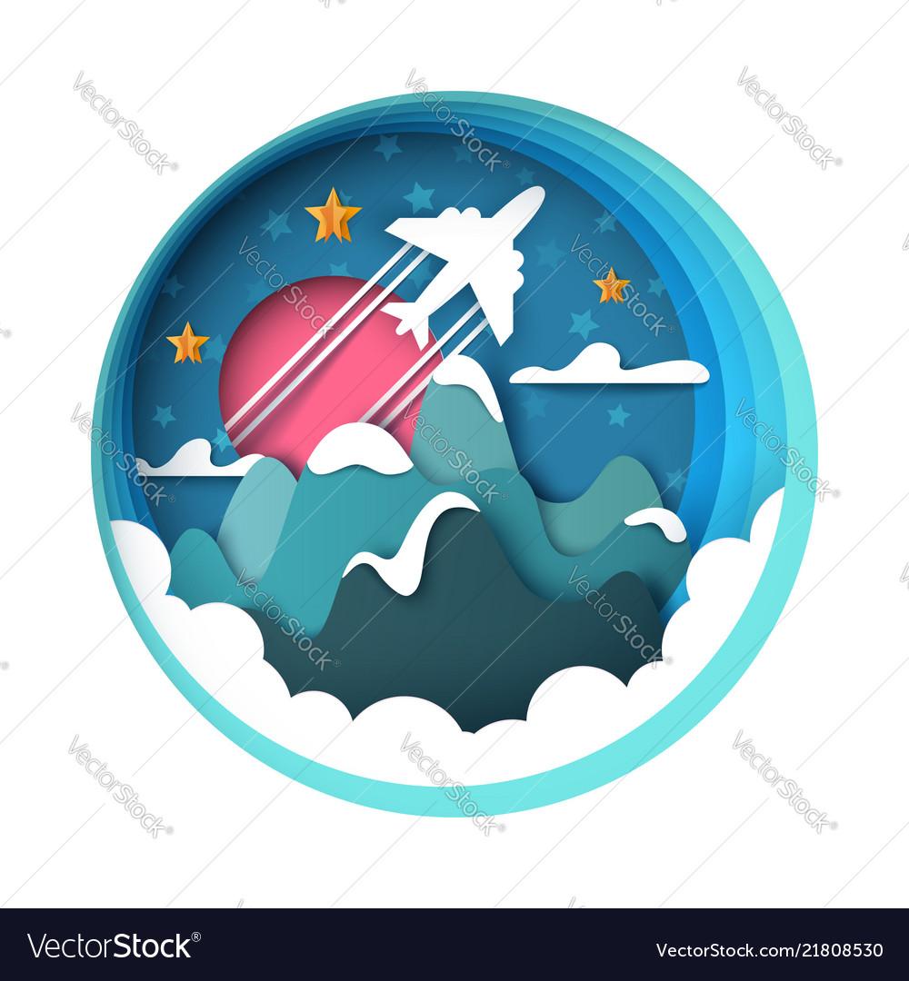 Cartoon paper landscape airplane mountain