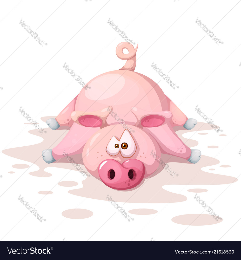 Cute funnny crazy pig characters symbol of the