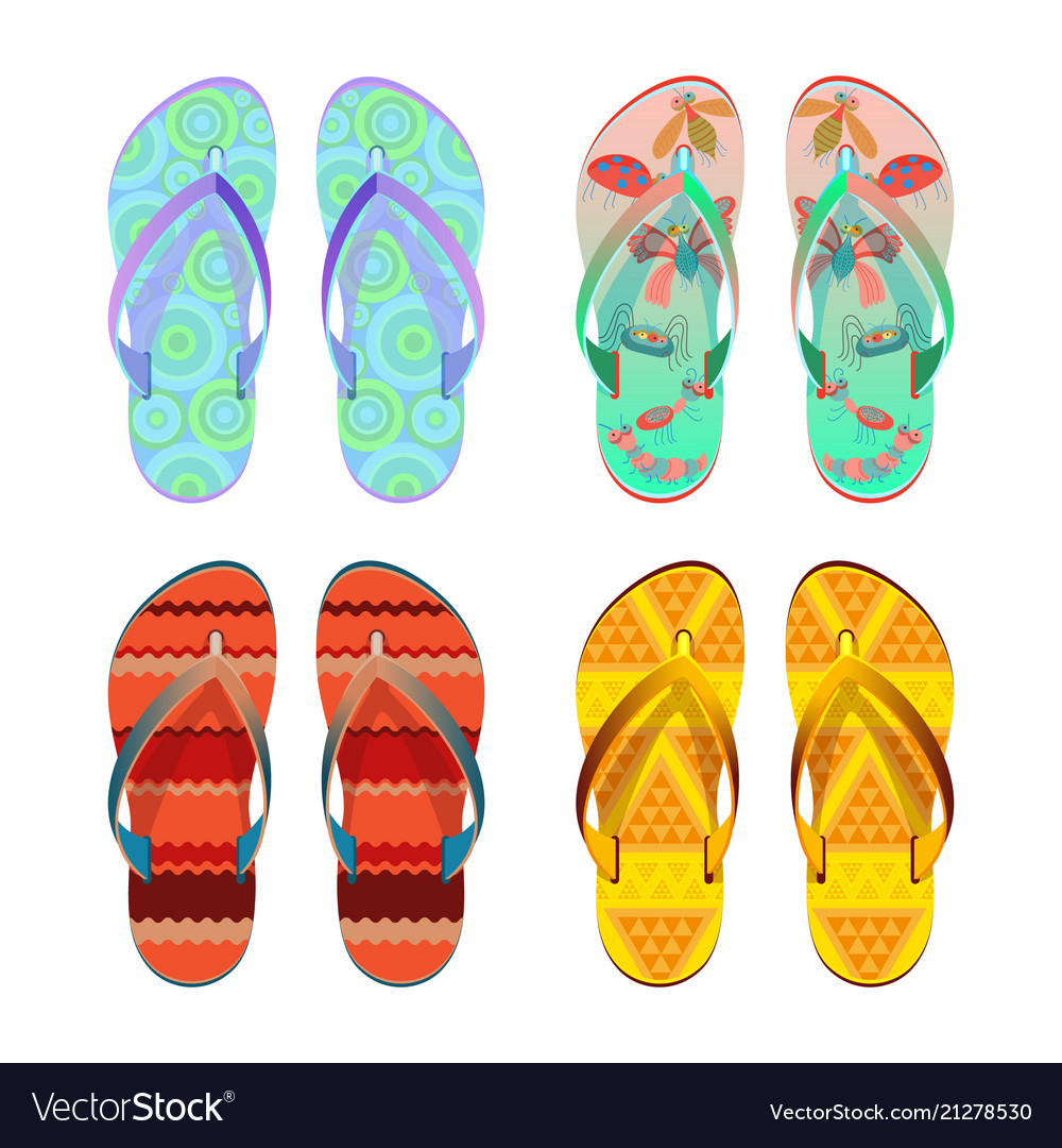 Flip-flops different styles of summer shoes