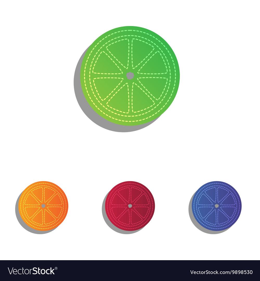 Fruits lemon sign colorful applique icons set