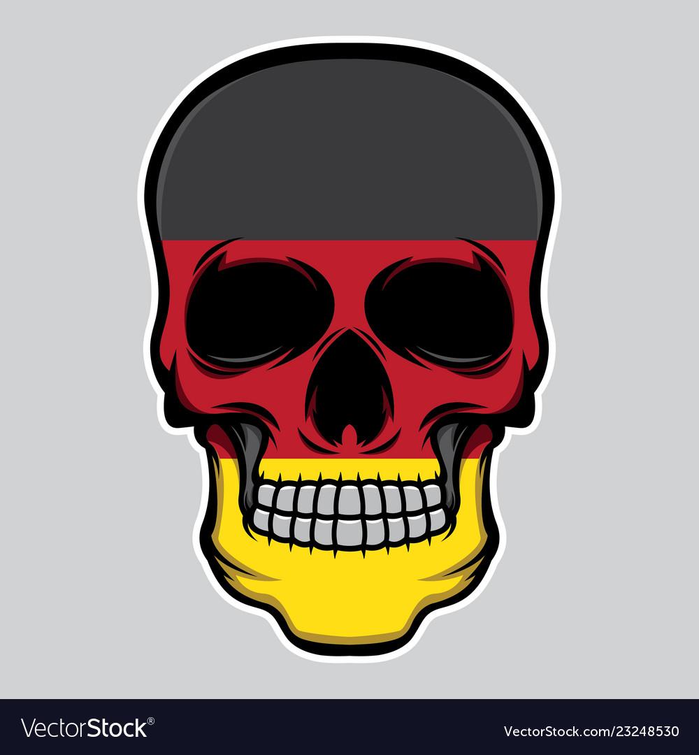 Germany flag head skull